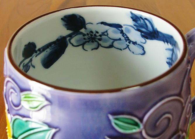 清水焼 マグカップ 紫交趾花唐草