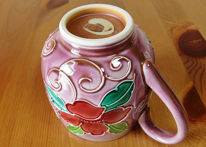 清水焼 マグカップ ピンク交趾花唐草