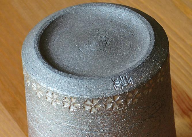 清水焼 マグカップ 黒陶三島(白)
