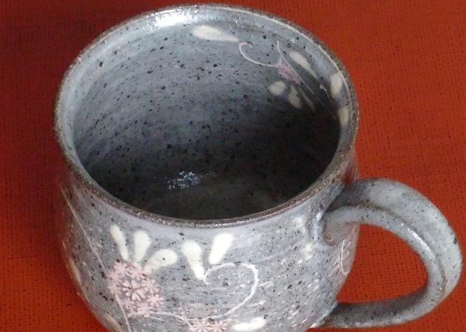 清水焼 マグカップ 赤土色三島